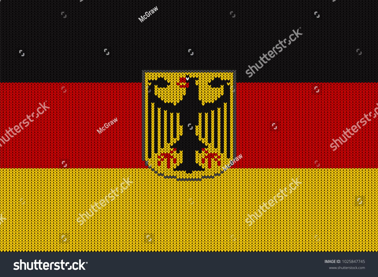 Flag And Federal Coat Of Arms Of Germany On A Vector Knitted Woolen Texture Knitted German Flag And Emblem Creates Seaml Germany Seamless Patterns German Flag
