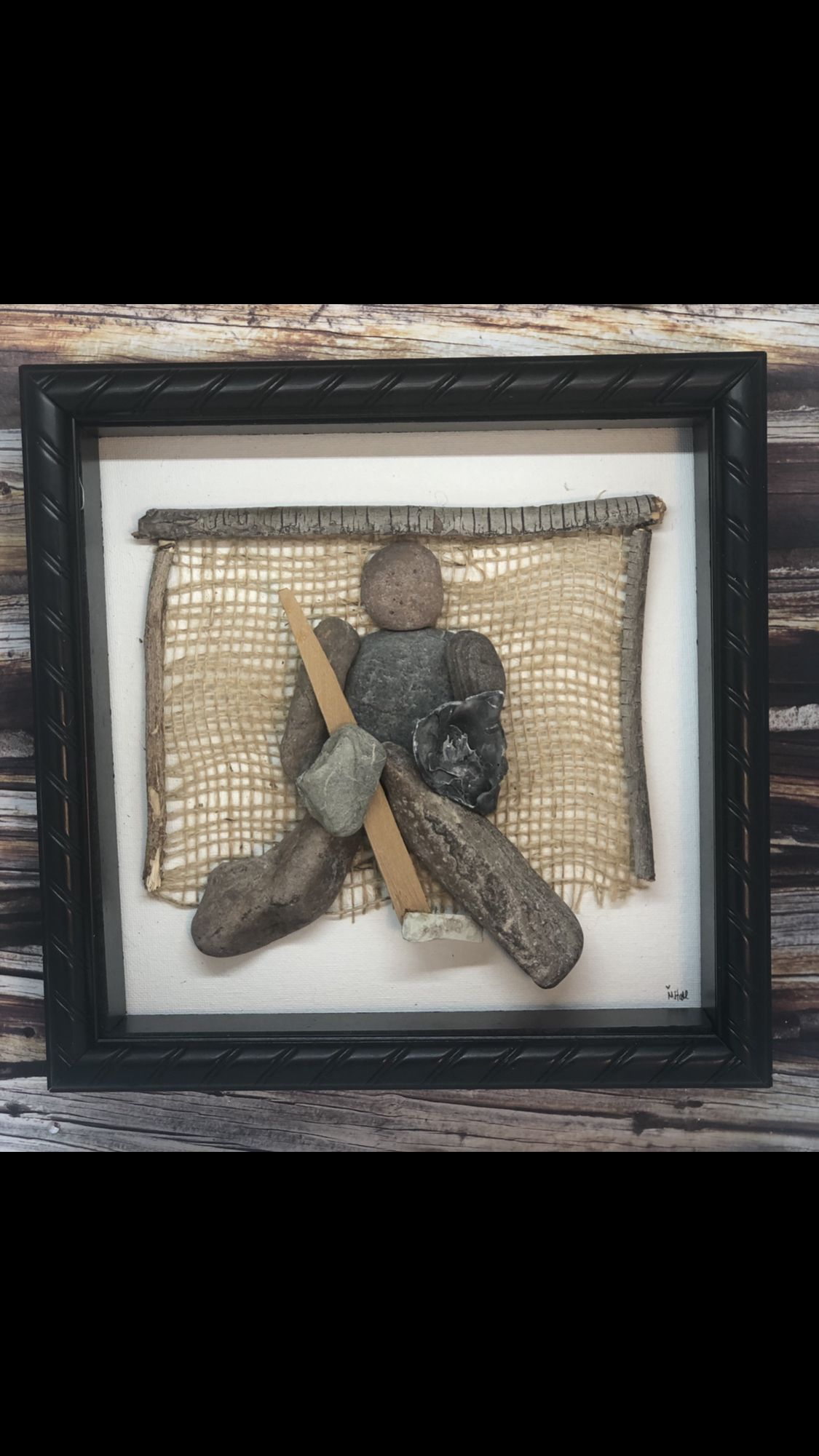 Hockey Lover Goalie Unique Gift Idea Guitar Wall Art Pebble