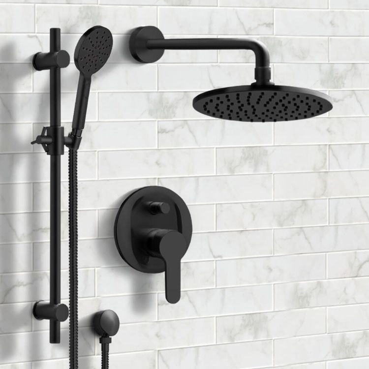Matte Black Shower Set With 8 Rain Shower Head And Multi Function