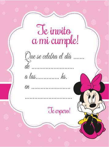 Tarjeta De Invitación De Minnie Mouse Celebrando Fiestas