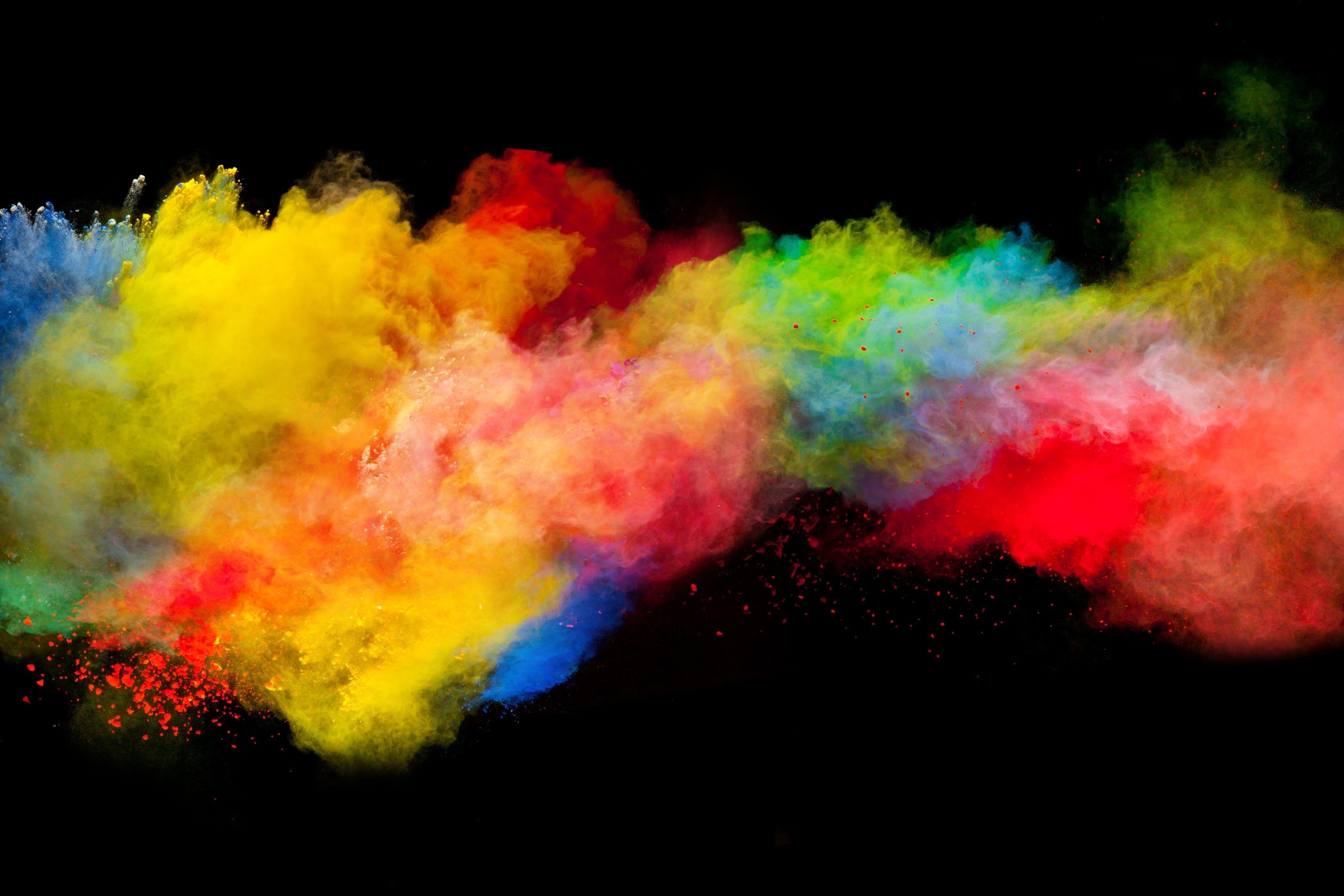 powder colorful black splashes powder explosion 4K