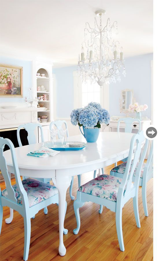 colorful home decor #homedecor blue cottage chairs + white table + crystal chandy
