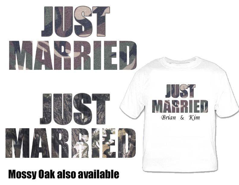 2 Custom Wedding Shirts Bride And Groom Just Married Tackyt Camo 24 95