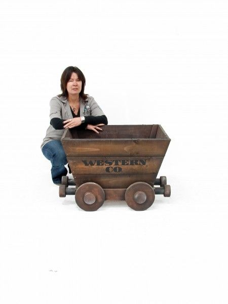 Wooden mine cart western theme cowboy party prop hire