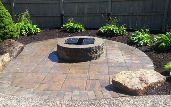 10x10 Patio With Interlocking Pavers And Fire Pit Creative Landscape Landscape Design Patio