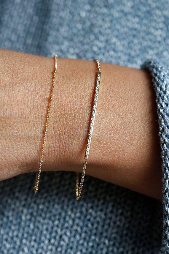 "Details about  /14K Yellow Gold Diamond Cut Bar Anchored on Box Chain Bracelet 9.25/"""