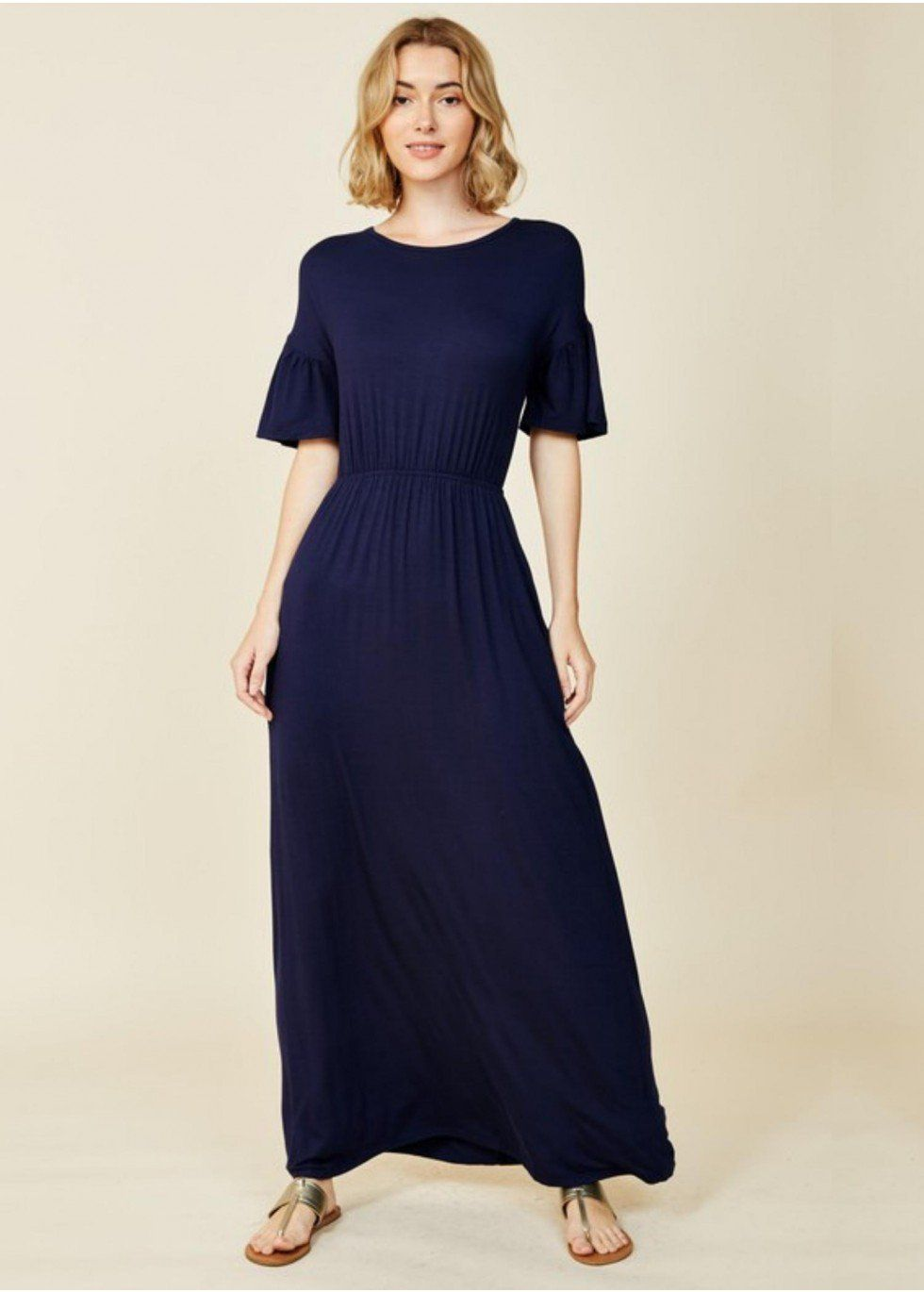 Bell sleeve solid colored maxi dress modli modest