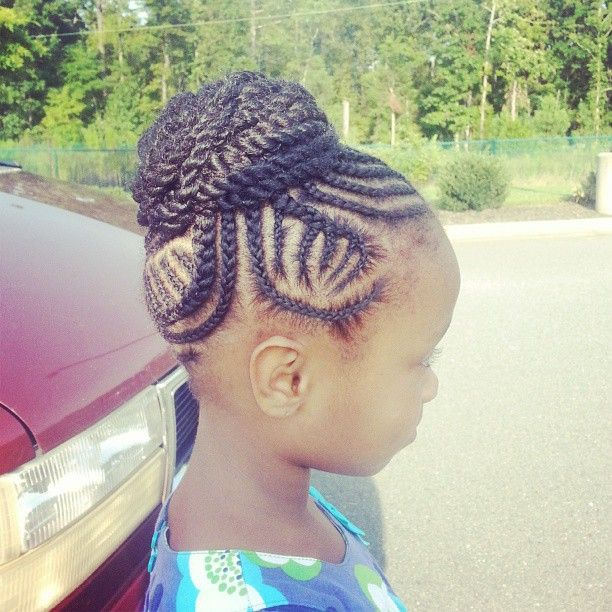 Little Girls Natural Hairstyles High Bun Twostrand Two