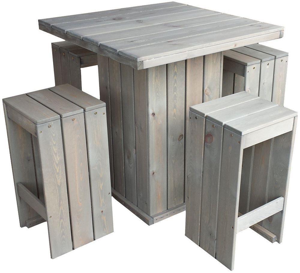 Bar set stehtisch und 4 barhocker aus fsc holz gartentisch partytisch holztisch in garten - Holztisch terrasse ...