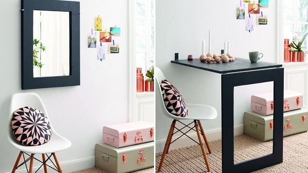 Elegant This DIY Desk Saves Space, Folds Up Into A Wall Mirror When Not In Use