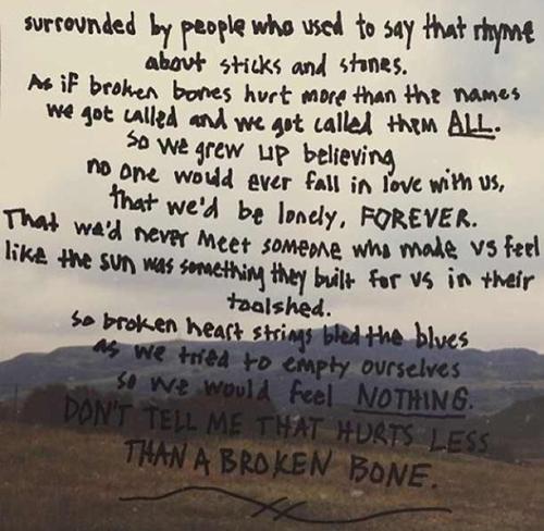 don't tell me that hurts less than a broken bone