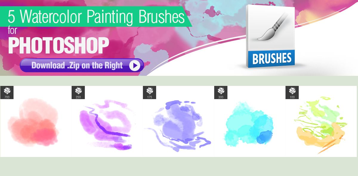 5 Watercolor Brushes For Photoshop By Pixelstains Deviantart Com