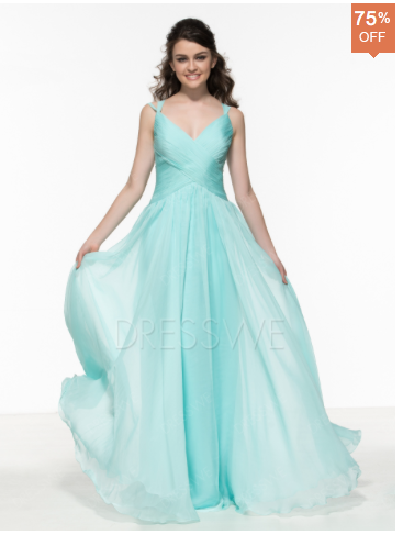 Concise V-Neck Straps A-Line Floor Length Prom Dress