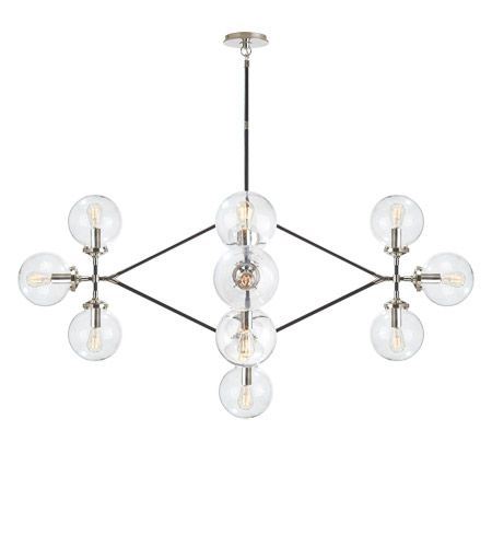 Visual comfort s5024pnblk cg ian k fowler bistro 13 light 52 inch ian k fowler bistro 13 light 52 inch polished nickel and black chandelier ceiling light in clear glass aloadofball Choice Image