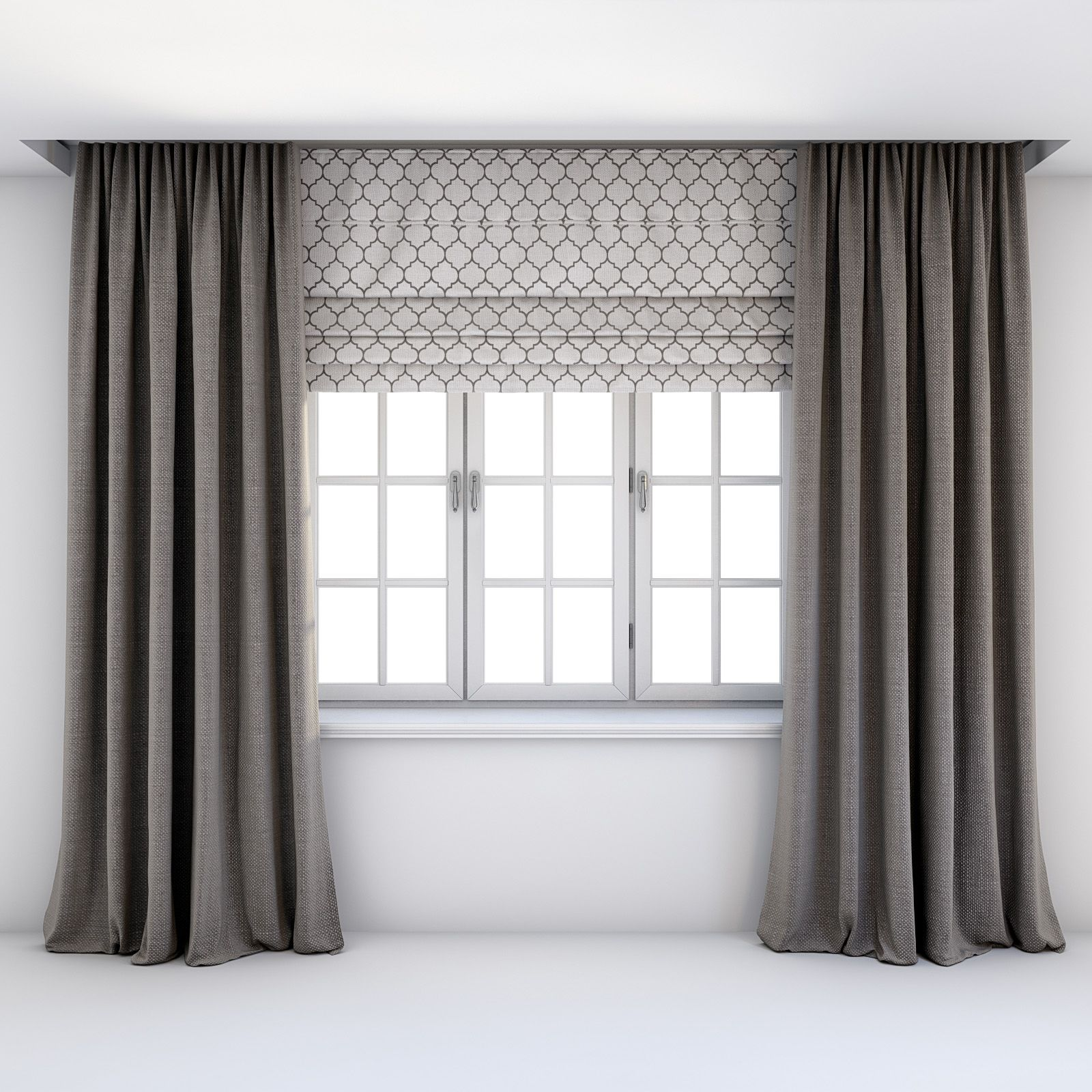 Straight Grey Brown Curtains Roman Blind Contemporary Curtains