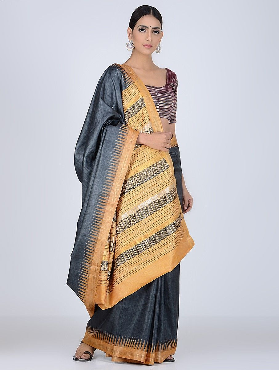 1a717ea7ef Buy Charcoal Yellow Sambalpuri Ikat Tussar Silk Saree Sarees Woven Online at  Jaypore.com
