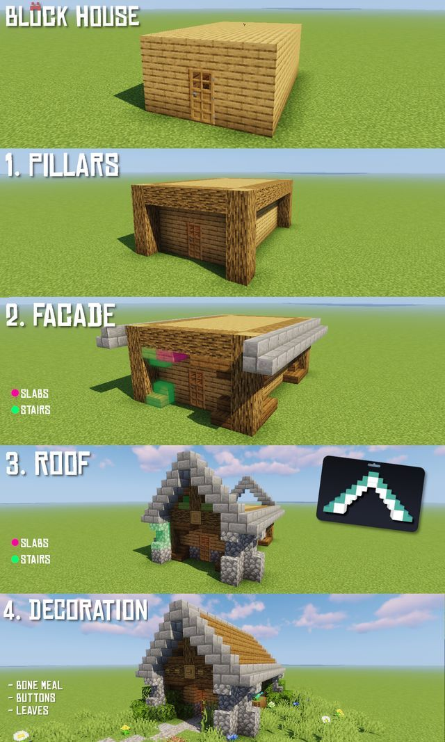 r Minecraft How to transform every block house in 4 easy steps