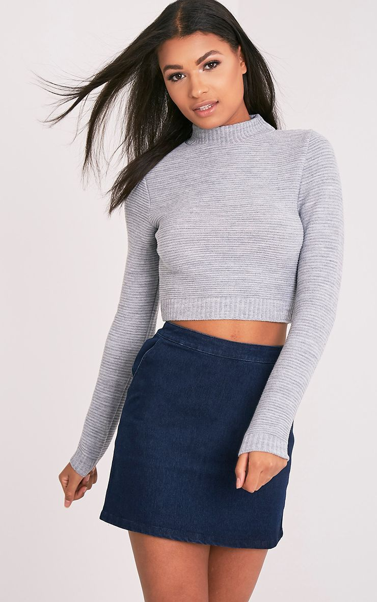 0ac42e909f212 Grey Ribbed Cropped Knitted Sweater in 2019