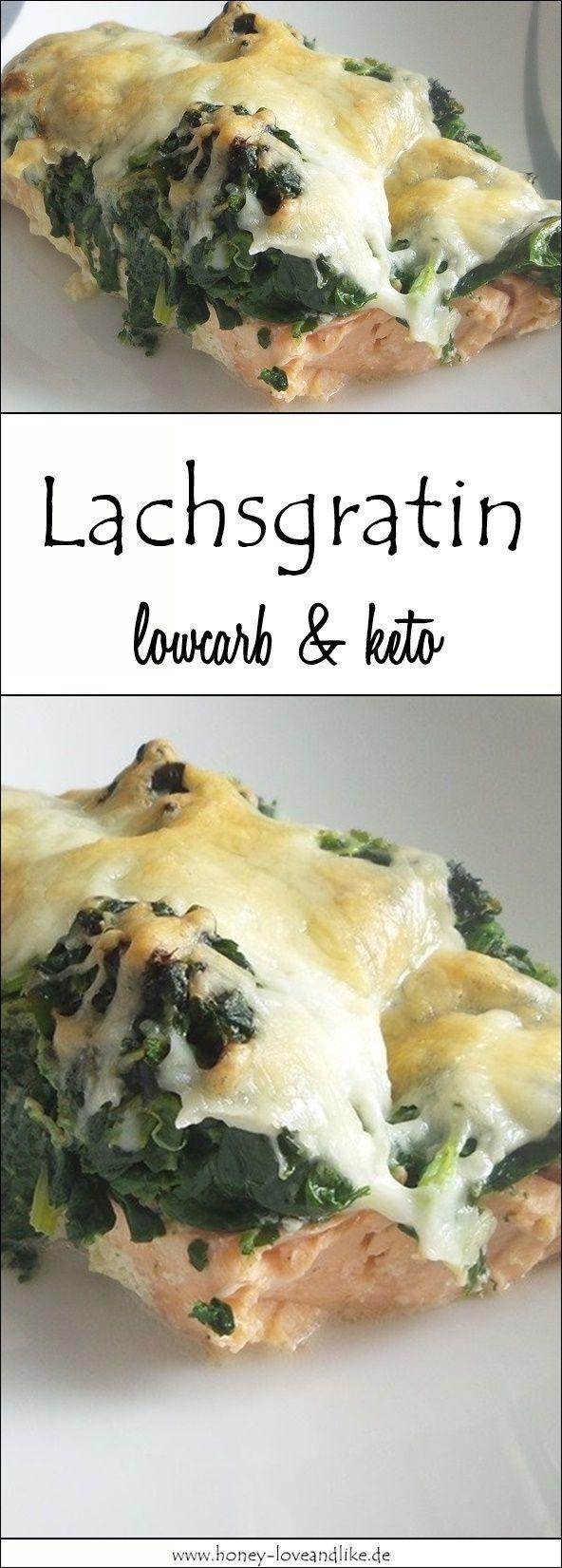 Ketogenes Lowcarb Lachsgratin mit Blattspinat und viel Käse #healthyshrimprecipes
