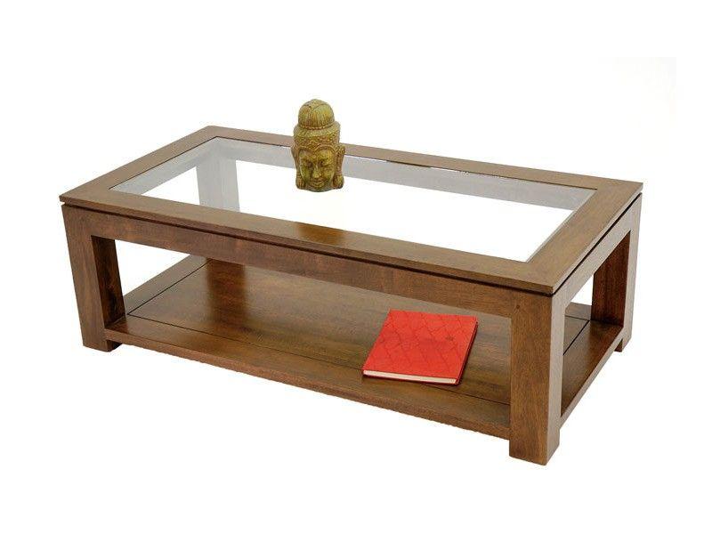 Redoutable Table Basse Verre Et Bois Rectangulaire
