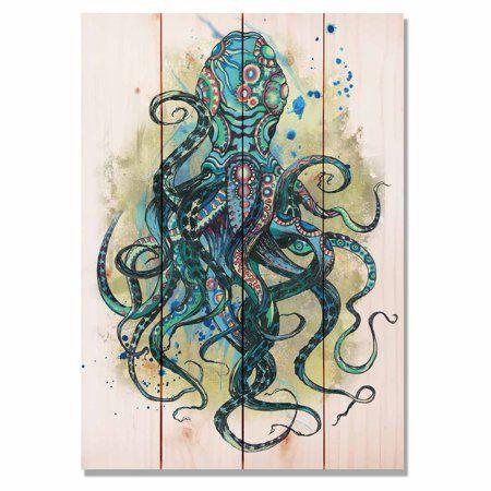 Daydream Colorful Blue Octopus Indoor Outdoor Wall Art Walmart Com