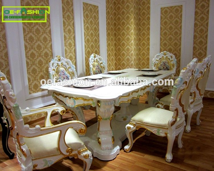 Luxury Baroque Wooden Carved Square Shape Dining Table Set