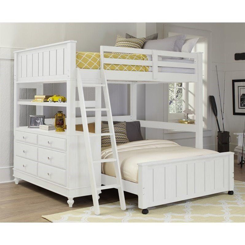 Ne Kids Lake House Full Loft Bed With Full Lower Bed In White In 2020 With Images L Shaped Bunk Beds Bunk Beds With Drawers Kids Bunk Beds