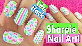 Sarabeautycorner Diy Comedy Makeup Nail Art Sharpie Nail Art Sharpie Nails School Nail Art