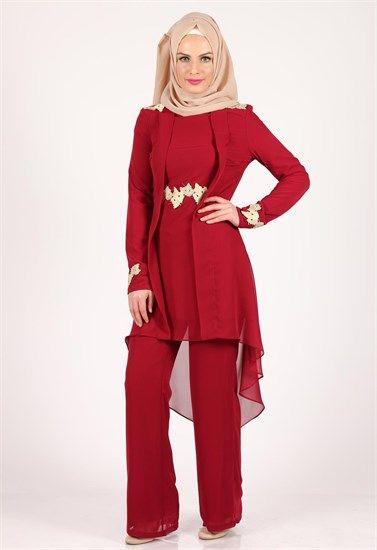 Karis Pantolonlu Tesettur Tunik Ikili Takim Bordo 2025 Musluman Modasi Giyim Basortusu Modasi