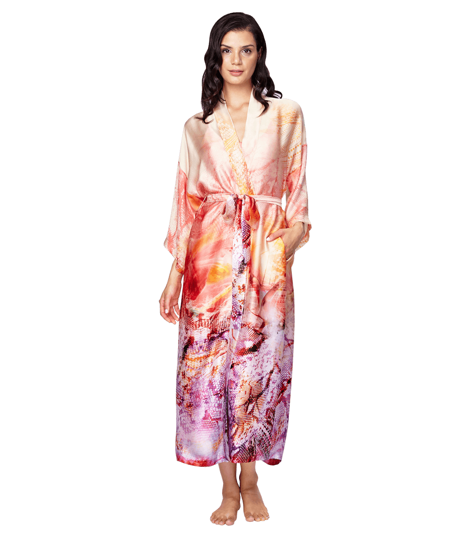 acc96aeb49 Aurora Long Robe  This vibrant Aurora butterfly print will be sure to add  some interest to your boudoir. Wear the robe alone or pair it with your  favorite ...