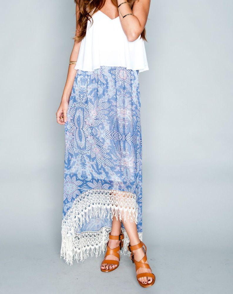 Nwt show me your mumu printed high low maxi skirt long draped