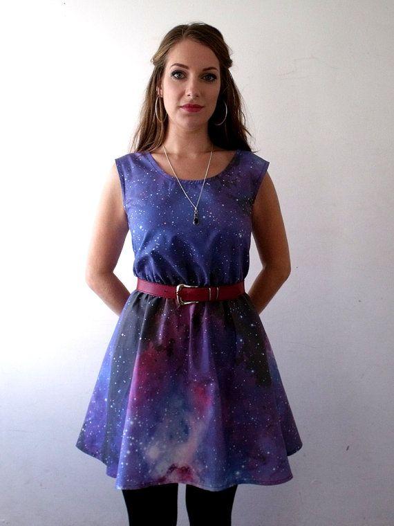 2b4d435cfbc1 Galaxy dress cosmic nebula grunge dress purple blue grey