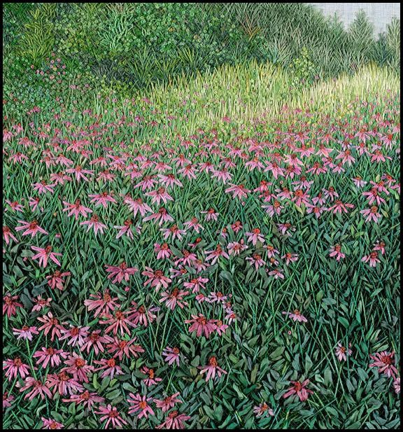 Martha Fieber – Landscape in Thread – Hand Embroidery- Echinacea - Private Collection ©