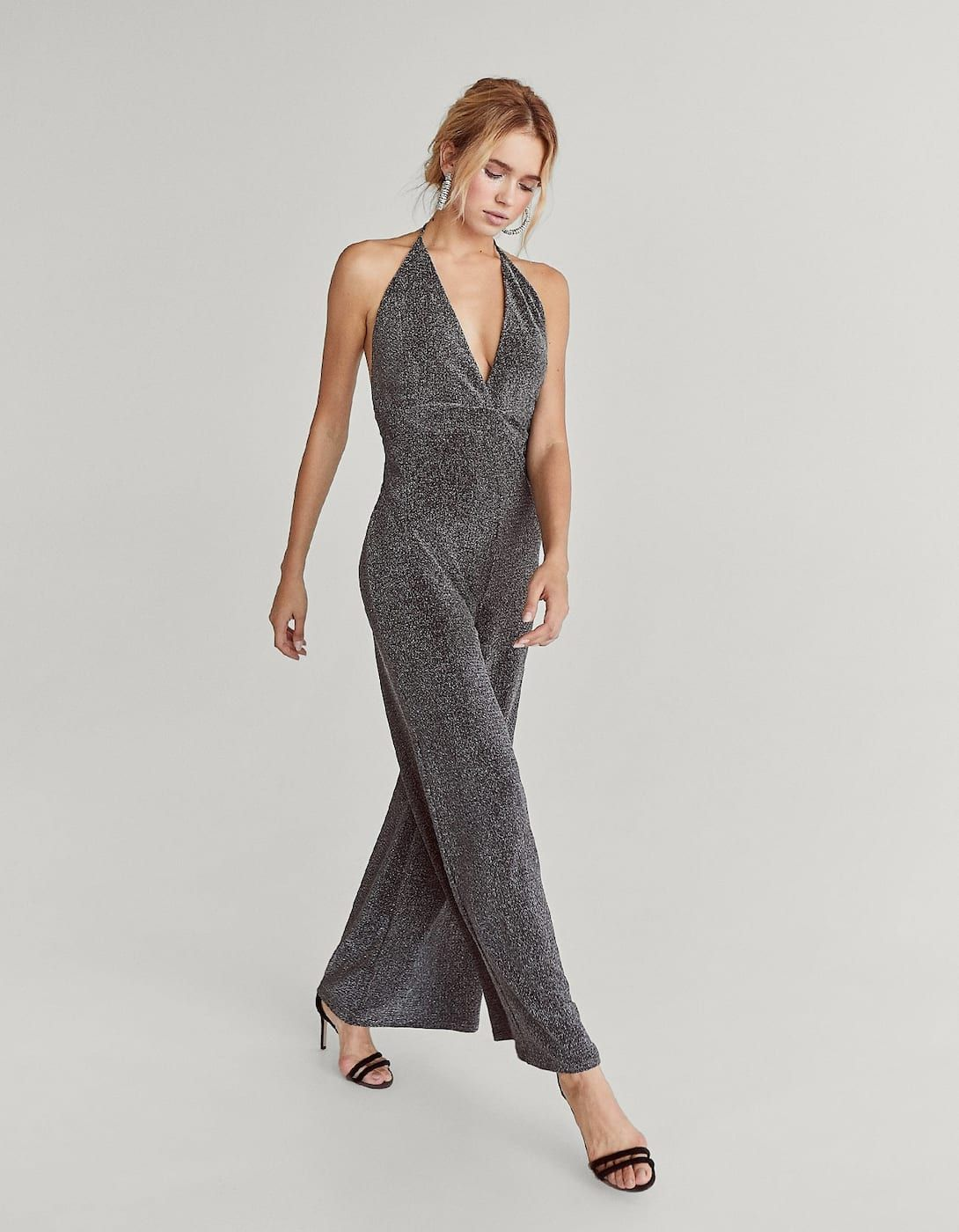 7c6e718c50e6 Halter neck jumpsuit with metallic thread - Dresses
