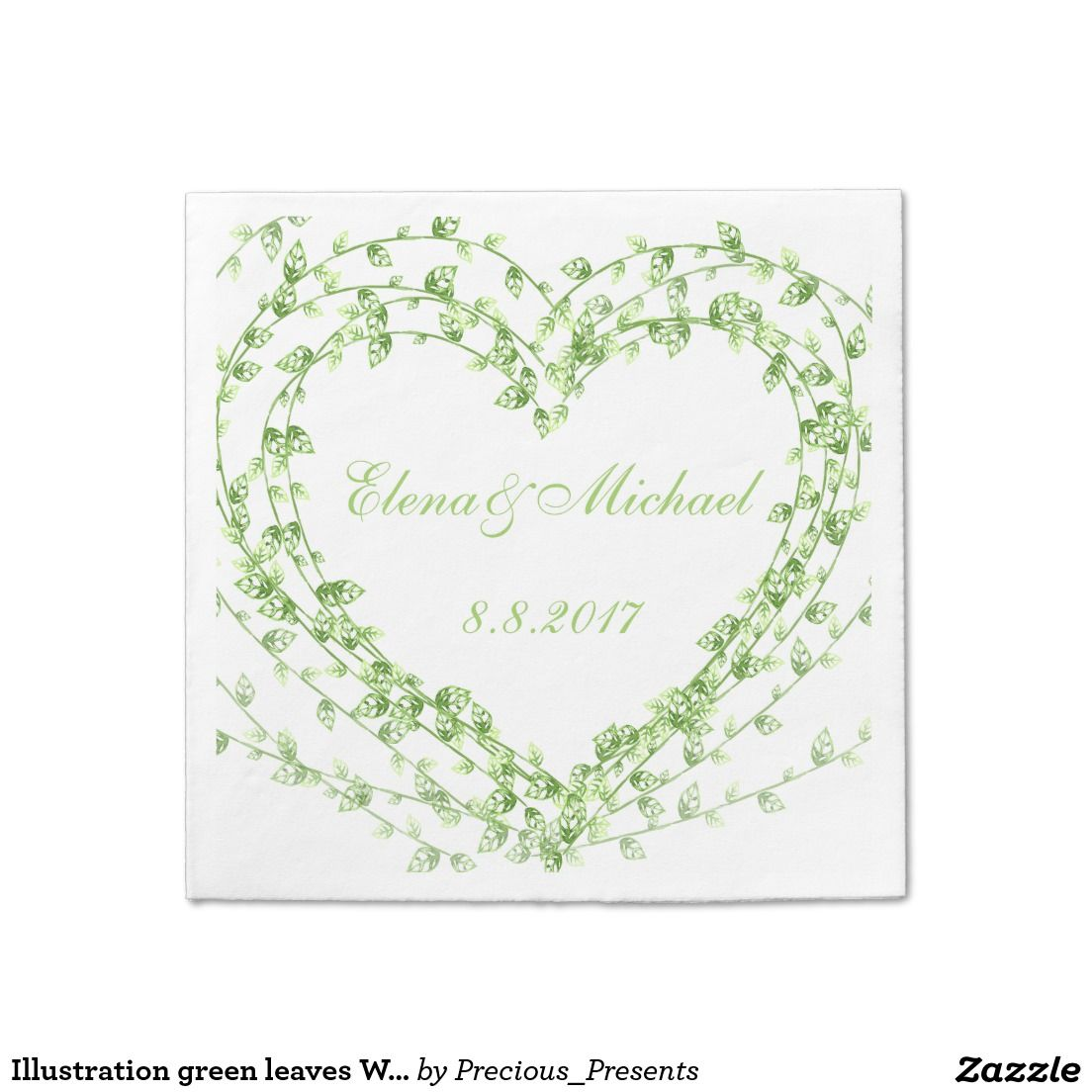 Illustration green leaves Wreath Wedding Customize
