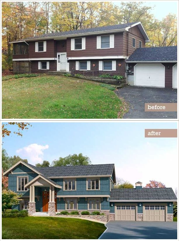 This old house raised ranch redo from blah to craftsman for Home exterior makeover ideas