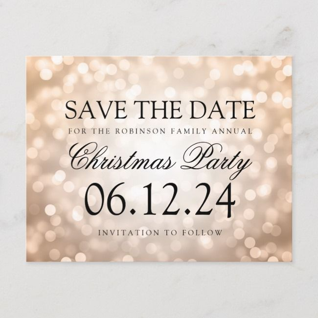 Christmas Party Save The Date Copper Glitter Light Announcement Postcard    Christmas Party Save The Date Copper Glitter Light Announcement Postcard