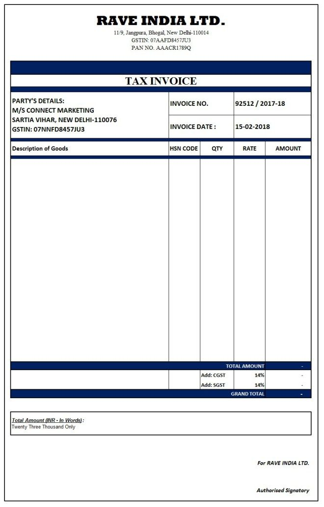 Image result for simple gst invoice format in excel word - dummy invoice template
