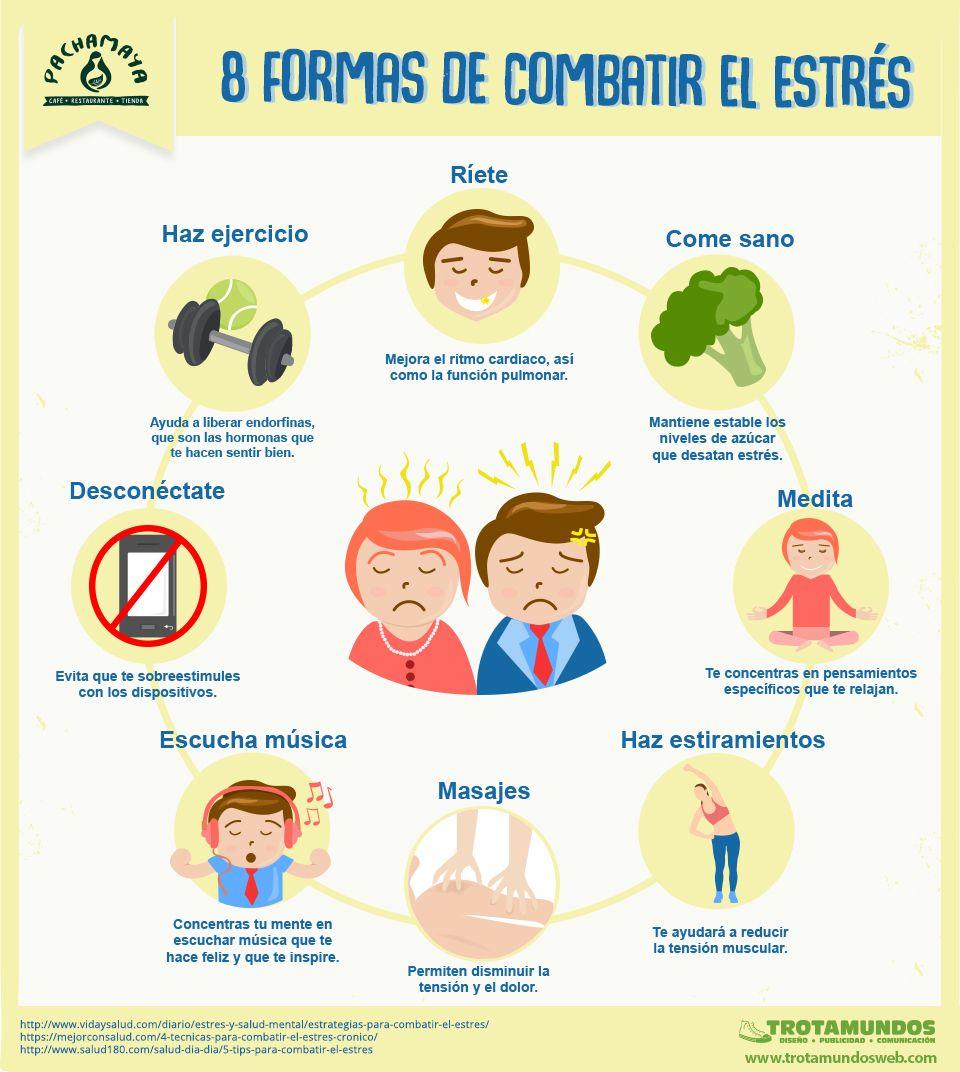 Infografia 8 Formas De Combatir El Estres Combatir El Estres Estres Educacion Para La Salud