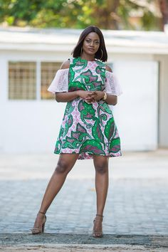 cdee535ae8ec1 Ankara cold-shoulder dress African print with lace sleeve