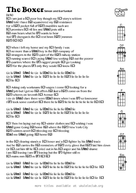 The boxer simon and garfunkel ukulele chords music pinterest the boxer simon and garfunkel ukulele chords hexwebz Image collections