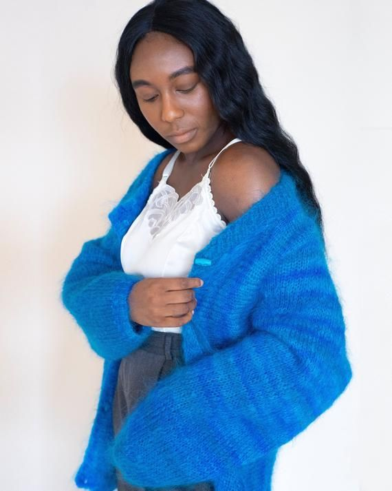 Vintage MOHAIR Handknitted Lapis Blue Cardigan Sweater / Toggle Closure Oversized s / m / l / Edinbu