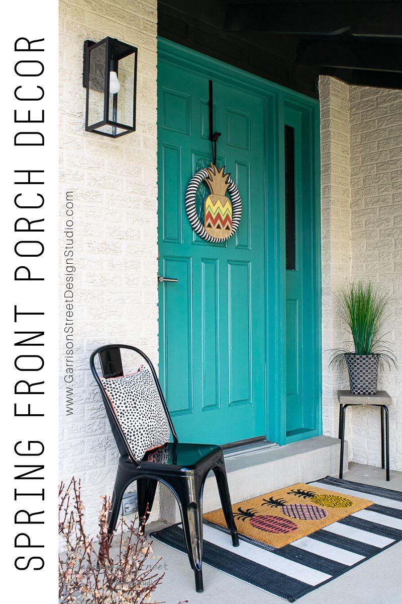 Spring Front Porch Decor Garrison Street Design Studio Front Porch Decorating Porch Decorating Spring Front Porch Decor