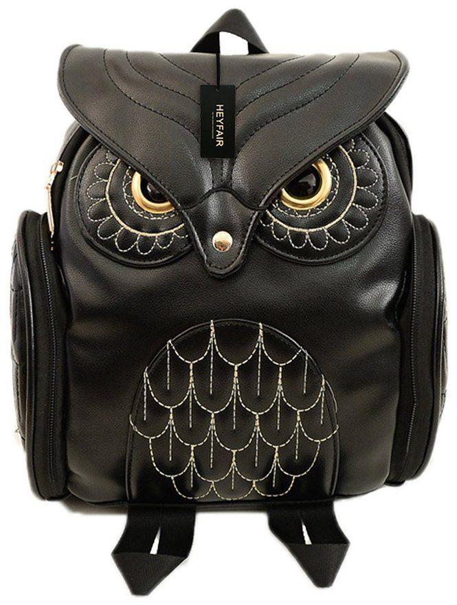 3b8e9e9da0 HEYFAIR Women Cute Owl Leather Backpack Casual College Bags Daypacks Boys  Girls (black)
