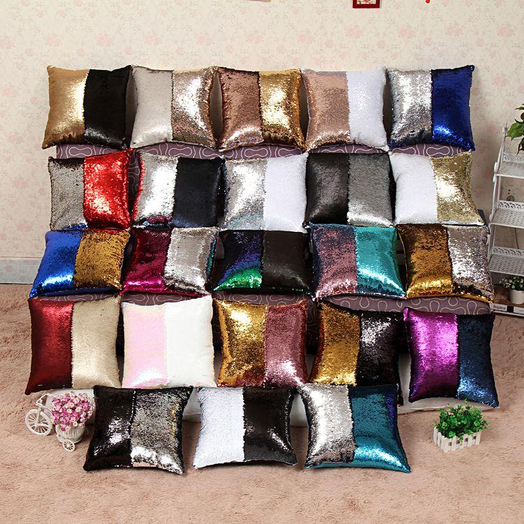 2016 venta Caliente sofá de lentejuelas cubiertas throw y almohadas continental sirena almohada fundas de cojín cuadrado fundas de almohada decoración para el hogar
