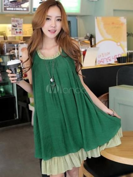 Cute Polyester Ruffles Maternity Dress