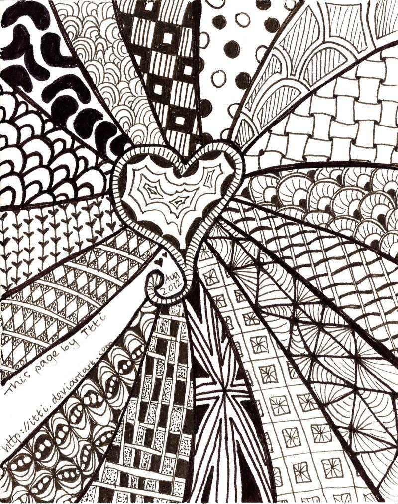 Zentangle heart by on deviantart for Basic doodle designs