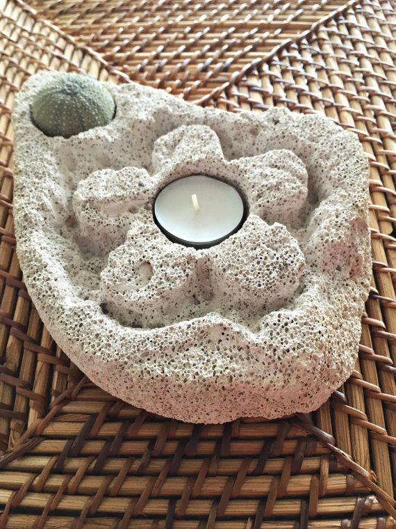 Natural Home Decor/Sea Urchin Candle Holder/ Natural Pumice Stone  Design/The Flower Fashion/Natural Gift