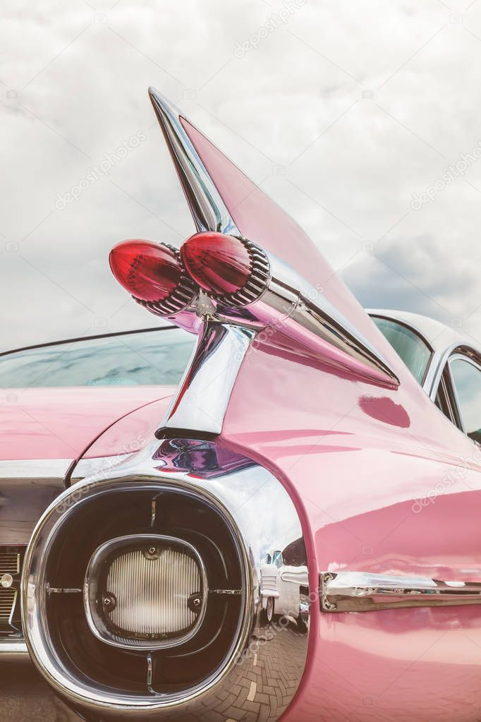 Rear end of a pink classic car – Stock Photo , #affiliate, #classic, #pink, #Rea…