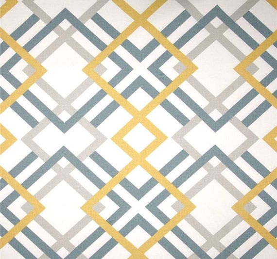 Modern Geometric Fabric by the Yard Greys & Saffron Designer Home ...